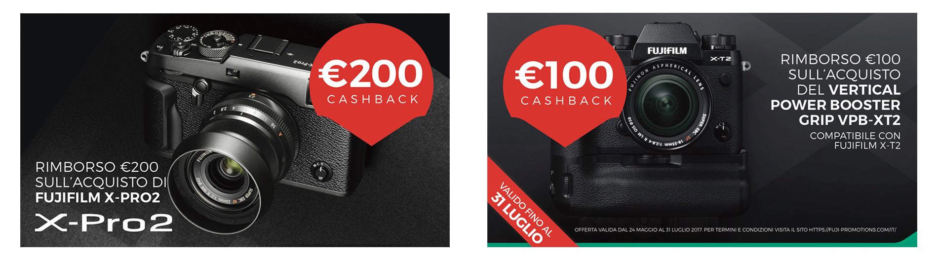 Cashback Fujifilm su Xpro2 e impugnatura Xt2